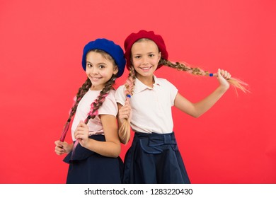 Childhood happiness. Friendship and sisterhood. Happy little sisters. Beauty and fashion. small kid fashion. childrens day. Back to school. small girl children with perfect hair. I am happy.