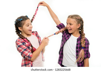 Childhood happiness. Friendship and sisterhood. Happy little sisters. Beauty and fashion. small kid fashion. childrens day. Back to school. small girl children with perfect hair. Look at this.