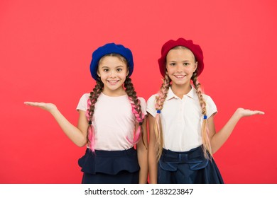 Childhood happiness. Friendship and sisterhood. small kid fashion. childrens day. Back to school. small girl children with perfect hair. Happy little sisters. Beauty and fashion. Just inspired.