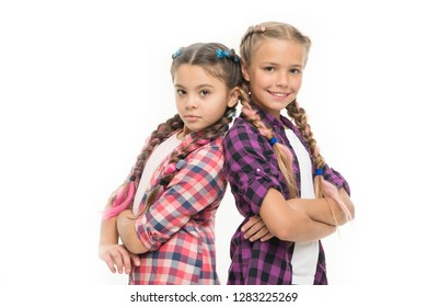 Childhood happiness. Friendship and sisterhood. small kid fashion. childrens day. Back to school. small girl children with perfect hair. Happy little sisters. Beauty and fashion. School classes.