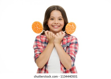 childhood. childhood and happiness. happy childhood of little girl with lollipop. childhood concept with happy girl child isolated on white. feeling playful