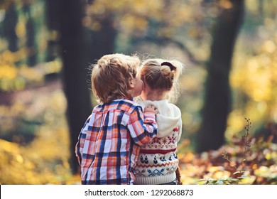 Childhood kiss, love and trust. Childhood friendship and children early development.
