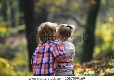 Childhood Kiss Love Trust Childhood Friendship Stock Photo Edit Now Enchanting Trust In Friendship