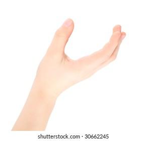 childish hand represents letter U from alphabet
