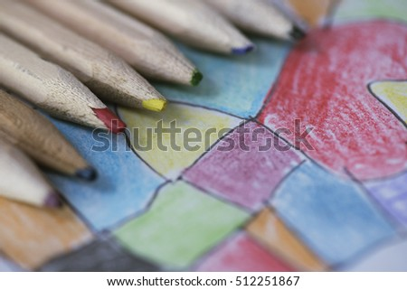 Children Abstract Coloring Pencils Stock Photo (Edit Now) 512251867 ...