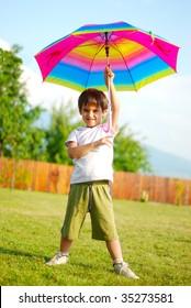 Children activity, umbrella, summer, play, funny