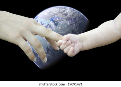 Children and adults hand against the backdrop of the planet. Save the planet!
