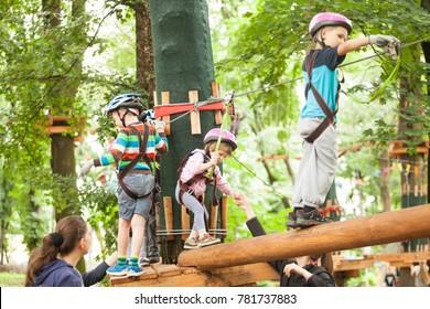 Children in a adventure playground