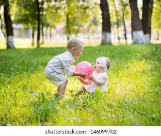children with ball outdoor