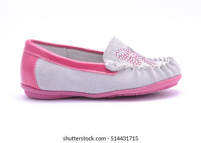 Children ballet shoes with bow isolated on white