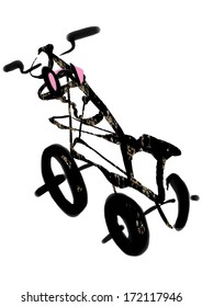 a children bike, three wheeler, raster illustration over a white background
