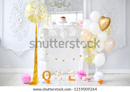 Children Birthday Decorations For Holiday Party A Lot Of Balloons Gold And White Colors
