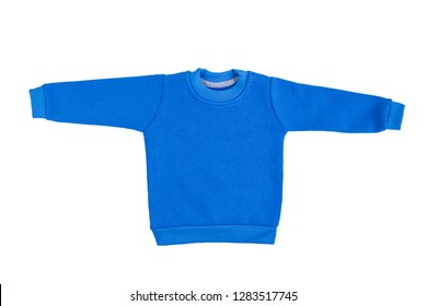 Children blue long sleeve sweater isolated on a white background. Front view