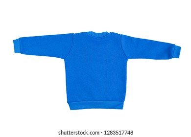 Children blue long sleeve sweater isolated on a white background. Back view