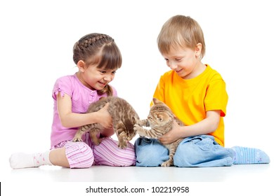 Children boy and girl playing with kittens. Isolated on white background
