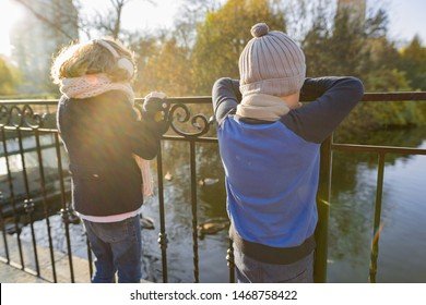 Children boy and girl standing backs on bridge, looking at ducks, sunny autumn day in park, golden hour
