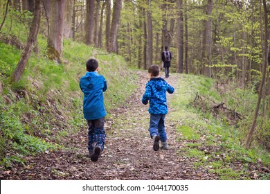 Children boys running and playing on a path in spring forest, back view, father walking in the background.