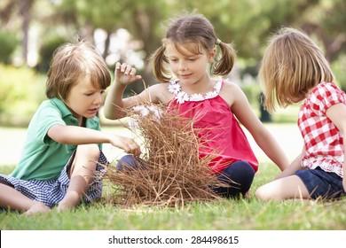 Children Building Camp Fire