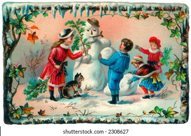 Children building a snowman - an early 1900's vintage illustration