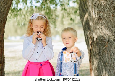 Children with candy in their hands