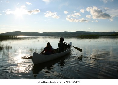 Children in a canoe