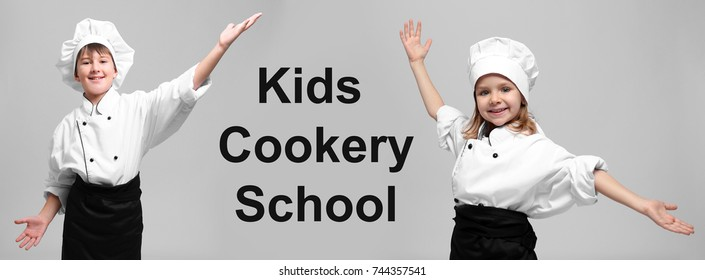 Children in chef uniforms and text KIDS COOKERY SCHOOL on grey background