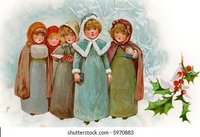Children Christmas Carollers - a circa 1900 vintage illustration