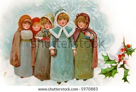 children christmas carollers a circa 1900 vintage illustration - Christmas Carollers