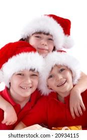 Children in Christmas hats