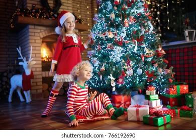 Children Christmas Tree Fireplace On Xmas Stock Photo (Edit Now ...