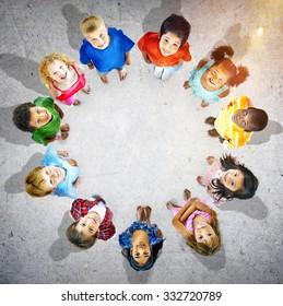 Children Circle Friendship Innocence Preschooler Concept