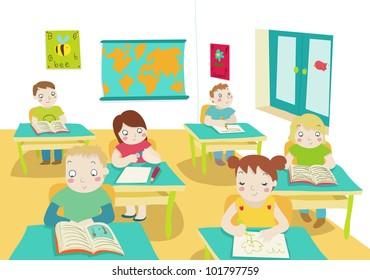children in classroom illustration