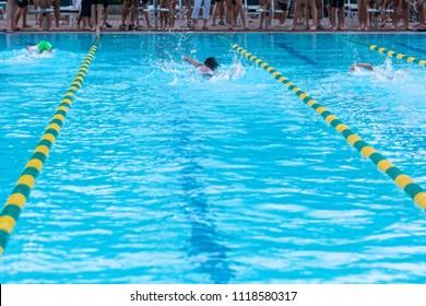 Children Competing at a Swim Meet