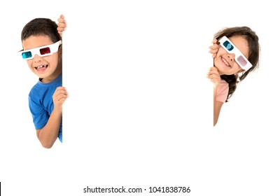 Children couple with 3d glasses with white board