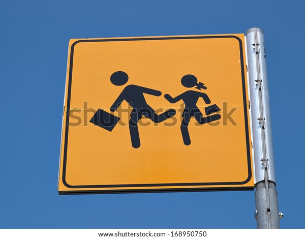 Children crossing street road sign back to school image