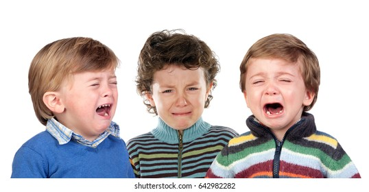Children crying isolated on a white background