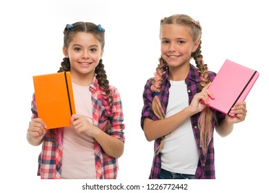 Children cute girls hold notepads or diaries isolated on white background. Note secrets down in your cute girly diary journal. Diary writing for children. Childhood memories. Diary for girls concept.