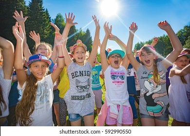 "Children dancing. Children's camp ""Berezka"". Editorial. Russia. Yaroslavl region 28. 06. 2016"