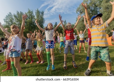 "Children dancing. Children's camp ""Berezka"".Editorial. Russia. Yaroslavl region 27.07.2016"