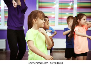 Children dancing in choreography class