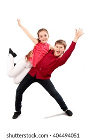 children dancing couple isolated on white background