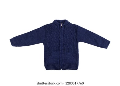 Children dark blue long sleeve jumper isolated on a white background.