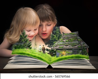 The children delighted in watching a fairy tale on the pages of an open book. Tale characters - the old man and old woman. Rustic old house, a forest glade with flowers.