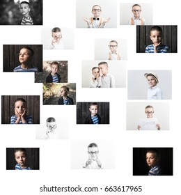 Children, different portraits of boys in one picture