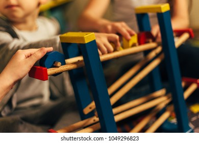 Children with disabilities are playing. Shallow depth of field.