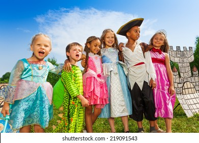 Children diversity in festival costumes standing
