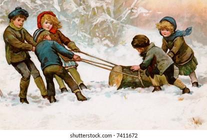 Children dragging home a Christmas Yule Log - a circa 1911 vintage illustration