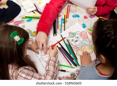 """Children drawing in class. Open lesson in the Children's Center of Creativity and Development """"Formula of Happiness"""". Russia, Saint-Petersburg, February 2016."""