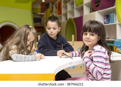 Children drawing at playroom