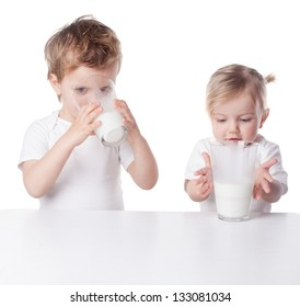 children drink milk, isolated on white background